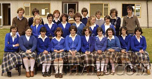 Leaving Cert class c1980. Back L to R: Noel Murray, Richard Trayer, Trudy Phelan, Majella Pollard, Pat Fahey, Martina Murphy, Donal Tobin, Sally Dunne, Pat Fitzgerald, Teresa Quinn, Don Paul O'Rourke, Kathleen Denn, C.J. Skehan, Paul Wyatt. Front L to R: Margaret O'Dea, Mary Keane, Carmel Butler, Carol Cunningham, Joan Brett, Caroline Guiry, Martina O'Connell, Catherine Lawrence, Patricia Coffey and Mary Meaney.