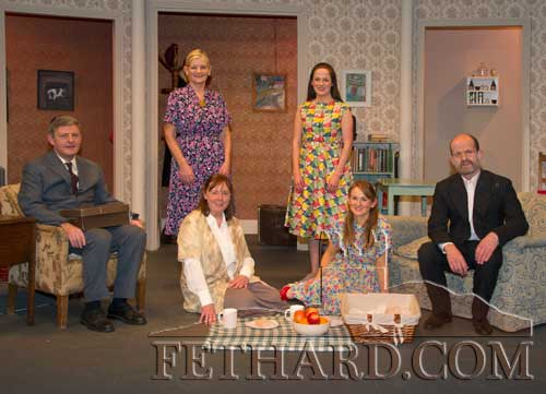 "Fethard Players cast of ""Miss Rose White"" photographed after their openeing night's performance in the Abymill Theatre on Wednesday, November 20. The play will run every night to Sunday, November 24. Curtain at 8.15pm and Booking at O'lynn's Menswear Tel: (052) 6131254 or 087 1604260. Standin L to R: Geraldine McCarthy, Meave Moclair. Sitting L to R: Jimmy O'Sullivan, Ann Walsh, Niamh Hayes and Colm McGrath."
