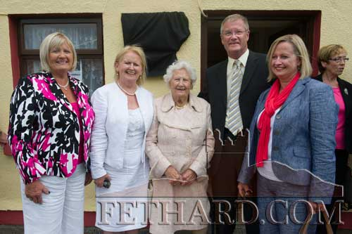 John Moulson, a son of George Moulson, photographed with his Fethard relatives at the unveiling of a plaque in Clogheen to honour Con and George Moulson, Republic of Ireland Soccer Internationals (1939-1948). L to R: Breda (Hurley) O'Reilly, Ann  (Hurley) Corrigan, Madge Hurley, John Moulson and Vicky (Hurley) Fitzpatrick. Madge's mother was a sister of Bridget (Dahill) Moulson, who was the mother of Con and George Moulson.