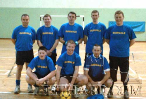 Pictured at the Macra NDC Indoor Soccer Finals in Meath on January 13, are Back L to R: Thomas Walsh, Shaun Lonergan, Thomas Lonergan, Liam Walsh. Front L to R: Jamie Fitzgearld, Michael Tobin and Michael Byron.