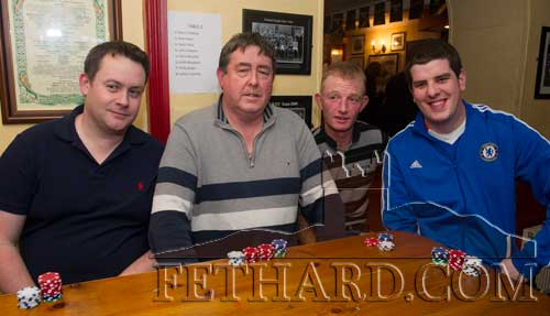 Playing in the Texas Hold'em Card League at Butler's Bar were L to R: Keith Woodlock, Philip Butler, Jarleth Connolly and Glen O'Meara