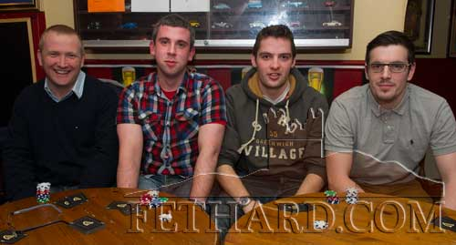 Playing in the Texas Hold'em Card League at Butler's Bar were L to R: Eamon Murphy, Darragh Corbett, Stephen Harrington and Jamie McCormack.