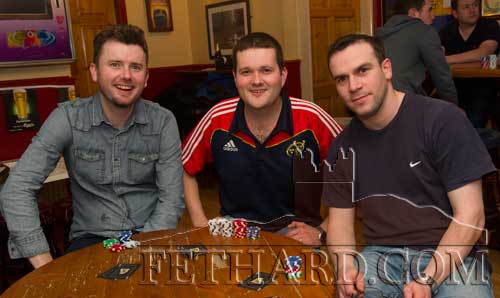 Playing in the Texas Hold'em Card League at Butler's Bar were L to R: Richard Hayes, Eoin Whyte and Kenneth O'Donnell.