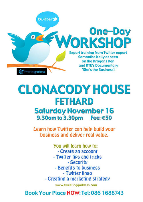 One-Day Twitter Workshop at Clonacody House on November 16