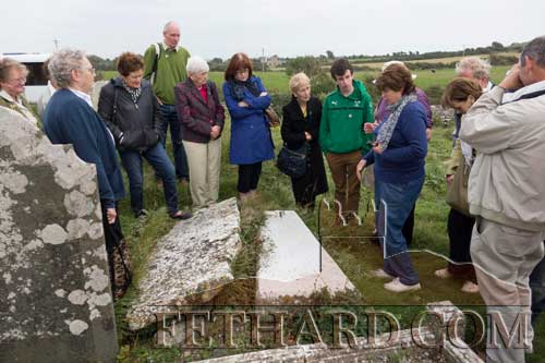Our guide Eileen Cloney-Kehoe showing us the recently discovered tomb of one of the Knights at the Knight's Templar Church at Templetown