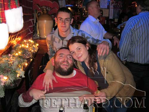 Photographed in Lonergan's on St. Stephen's Day are L to R: Jack Kenny, Jamie O'Brien and Anne Marie Hayden.