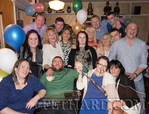 Katie O'Shea, Woodvale Walk, celebrating her 21st birthday with friends at Lonergan's Bar, The Square, Fethard