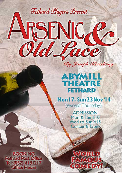 Fethard Players are currently in rehearsal for their forthcoming production of a great comedy, 'Arsenic and Old Lace' by Joseph Kesselring. The play will commence in the Abymill Theatre on Monday, November 17, at 8.15pm and continue its run until Sunday, November 23, with the exception of Thursday night. Special admission price on Monday and Tuesday night at €10, all other performances admission is €15. Booking is open now at Fethard Post Office Tel: (052) 6131217.
