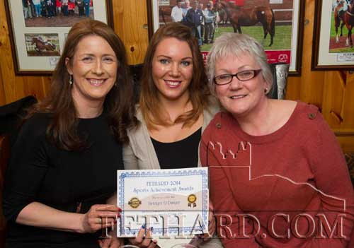 Photographed at the Butler's Bar Fethard Sports Achievement Award for February are L to R: Bridget O'Dwyer (winner), Sarah Standbridge and Mollie Standbridge.