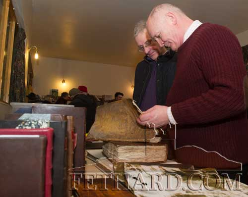 Felix O'Neill, bookbinder from Cahir, demonstrating his craft to Canice Egan, Clonmel.