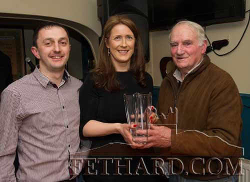 Special guest, Jimmy O'Shea, presenting the Butler's Bar Fethard Sports Achievement Award for February to Bridget O'Dwyer. Also included is M.J. Croke (left) representing February sponsor, Cashel Motor Works. Bridget is leader of the phenomenon 'Operation Transformation' which has taken Fethard by storm.