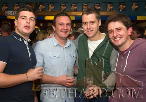 Photographed at Butler's Anniversary party are L to R: Aaron O'Donovan, Stephen O'Meara, Dermot Culligan and Niall Hayes.