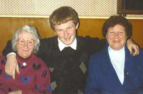 Christy Allen, who died on November 4, 2014, photographed some years ago, with his late grandmothers Mary Nagle (left) and Monica Allen (right)