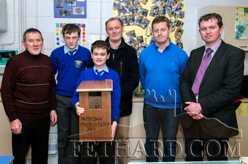 Mark Hayde (front) holding one of the many Bird Boxes made by the students as part of their nature bird watch project. Back L to R: Joe Keane (Fethard Tidy Towns), Jack Spillane (student), Kevin Collins, John Cummins (woodwork teacher and project co-ordinator) and Michael O'Sullivan (school principal).