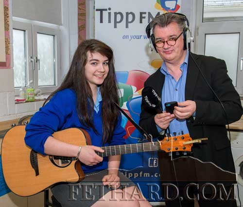 Singer songwriter Tara Horan, who performed live for Fran Curry on Patrician Presentation Secondary School's broadcast of 'Classic Café' from the school.