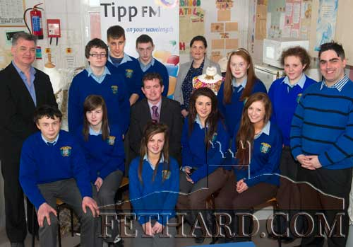 Fethard Patrician Presentation Scholl Transition Year pupils photographed at their live broadcast from the school on Friday, March 21. Also included are Michael O'Sullivan (school principal), Orla Barrett (teacher), Fran Curry (Tipp FM) and past pupil Ian O'Connor (Tipp FM)