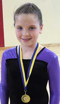 Katie Allen winner of the county final of the Community Games U9 Gymnastics competition