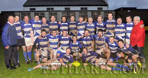 On Saturday, May 10, 2014. Fethard & District rugby club won the Evans Cup in a thrilling final against Waterpark RFC. Pictured Back L to R: Paul Kavanagh (coach), Richie Carroll, Emmet O'Mahony, Jamie McCormack, Philip Ivors, Declan Doyle, Chris McGrath, Chris Large, Shane Kavanagh, Andy Walsh, Nico Hoyne, Rob Hall, Matt Fitzgerald, Chris Bannister, Liam Hayes (coach). Middle L to R: Conor Kavanagh, Dick Walsh, Robert Bannister, Alan O'Connor, Kevin Hayes, Kieran Power, Philip Ryan, Osama Frazh. Front L to R: William Power and Angus McAlpine.