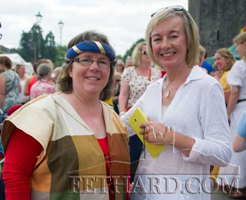 L to R: Edwina Newport and Kate Corcoran enjoying the Medieval Festival in Fethard