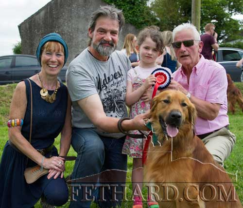 Noel Harrison and his grand-daughter Mia with their dog 'Bobby' who was chosen as 'Dog of the Show' at Fethard Festival Dog Show. Also included are show organisers Catherine Kearney (left) and Pat Culligan (right).