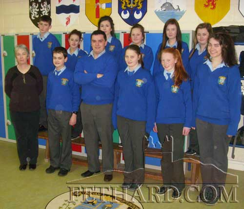 Ms Mulhall (teacher) photographed with participants in the Pi competition at Patrician Presentation Secondary School. Back L to R: Adam Dorney,  Kelly Keating, Niamh Morrissey, Emma Keating,  Lesley Anne Prendergast, Cassie Needham. Front L to R: Ms Mulhall (teacher), Mark Hayde, Adam Fitzgerald, Shauna O'Neill, Emma Cronin and Tara Horan.