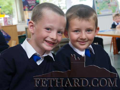 Starting school at Holy Trinity National School Fethard are L to R: Mikey Brennan and Dion Toohey-Power.
