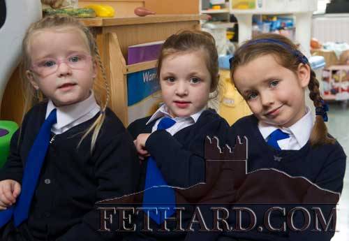 Starting school at Holy Trinity National School Fethard are L to R: Hayley Power-Farrell, Lilianna McGrath and Emma Murphy.