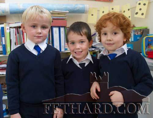 Starting school at Holy Trinity National School Fethard are L to R: Patrick Coffey, Daniel Gleeson and Jimmy Higgins.