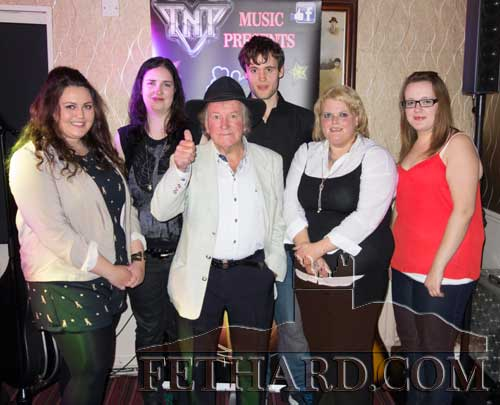 Six local finalists of the National Singing Championships held in Lonergan's Bar last weekend. L to R: Coralie McNamara, Maresa Dolan, Johnny Mac, Joe Thompson, Helen O'Brien and Katie O'Shea.