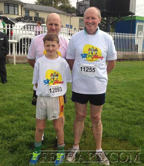 Pictured for the 10k Fun Run at the Curragh Racecourse on Sunday, August 24, in the 'Jog for Jockeys' injury fund L to R: John Cummins, Paul Kavanagh and Charlie Cummins in front.