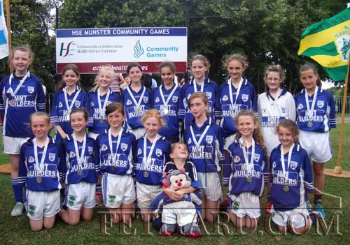Fethard Killusty U12 girls GAA team winners of silver medals at the HSE Community Games Munster Finals, pictured with their mascot Emily Spillane and 'Teddy'.