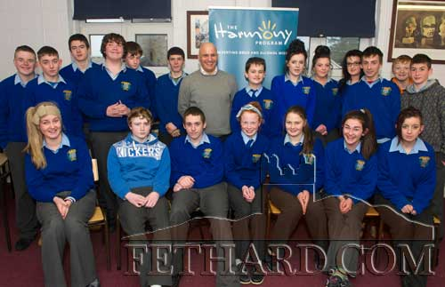 Roger Mehta photographed with pupils from Fethard's Patrician Presentation Secondary School during his two-day 'Harmony Program - Preventing Drug and Alcohol Misuse' which was very well received by the pupils involved. The program was sponsored by Fethard & KIllusty Community Council.