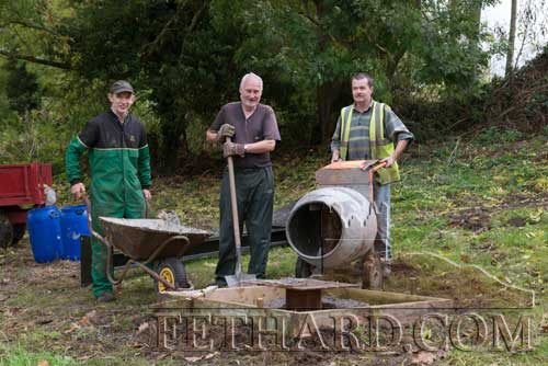 L to R Seamus Barry, Joe Lee and Michael Tynan putting in the base for the new Cross to be erected at Kilmaclugh Cemetery, kindly donated by Tipperary County Councel.