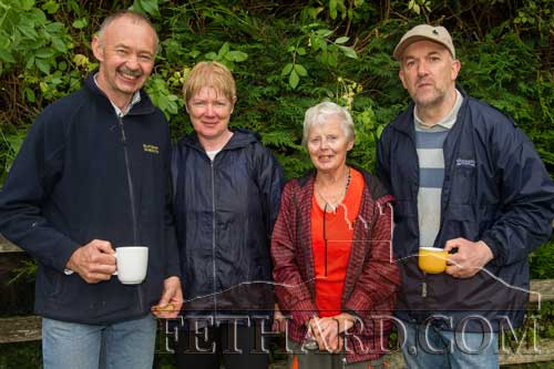 Photographed after the annual Holy Year Cross pilgrimage on Slievenamon are Billy Prout, Mary Hollerhan (from Cashel), Jean O'Dwyer (from New Inn) and Kevin Ryan.