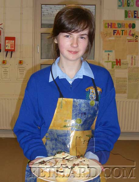 Orla Walsh from Killusty  who won 1st Prize  in the Christmas Bake Off in Patrician Presentation Secondary School. Orla prepared Snowman Queen Cakes for the competition.