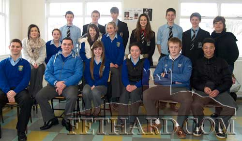 Fethard pupils photographed with visiting pupils from Bandon Grammar School. Back L to R: Xavier Neville, Joshua Landzaad, Stevie Organ, Emma Young, Mark Bateman, Craig Pock, Amanda Landzaad. Middle L to R: Niamh Morrissey, Kelly Keating, Niamh Crotty, Hannah Tobin. Front L to R: Anthony Clare, Adam Fitzgerald, Clodagh Bradshaw, Kate O'Donnell, Eoghan Hurley and Thomas Channon.