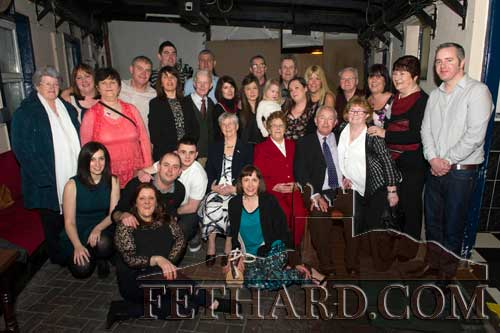 Biddy (Fitzgerald) Kearney photographed with her extended family on the occasion of her 80th Birthday Party celebrated at Lonergan's Bar.