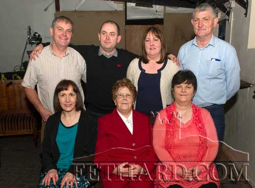 Biddy (Fitzgerald) Kearney photographed with her family on the occasion of her 80th Birthday Party celebrated at Lonergan's Bar. Back Dominic, James, Mary, Tom. Front L to R: Breda, Biddy and Joan.