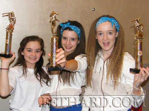 L to R: Ciara Connolly, Katie O'Flynn and Amy Brophy, members of Dance Revolution with their trophies