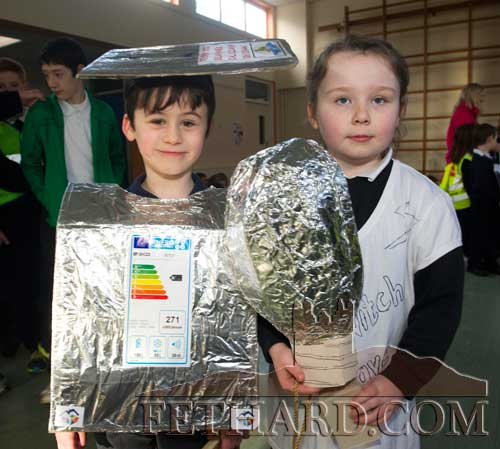 Senior infant students Killian Hallinan and Hannah O'Sullivan in their 'Energy' outfits at Holy Trinity National School
