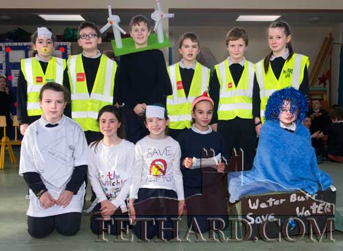 Fourth Class pupils in their 'Energy' outfits at Holy Trinity National School. Back L to R: Emma Lyons, Patrick Kennedy, Ciarán Maguire, David Cowlard, Patrick Walsh, Ava Ward. Front L to R: Eimear O'Sullivan, Laura Harrington, Aine Ryan, Hayley Ryan and Hannah Sheehy.
