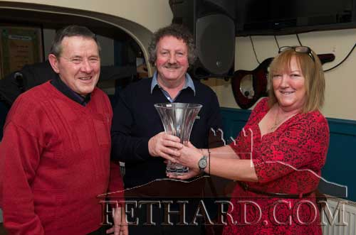 Matty Tynan (centre) receiving the Fethard Sports Achievement Award for January from Ann Butler (sponsors). Also included is special sporting guest, Joe Keane.