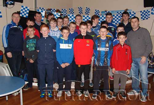 Fethard Juvenile South and County Under-14 Hurling champions and coaches photographed at the Medal Presentation with special guests, Colin O'Riordan from JK Brackens and Fethard's Michael Ryan, manager of the Tipperary Intermediate Hurling team.