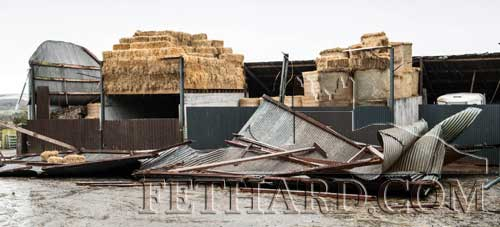 Storm damage at David Guiry's farm at Peppardstown, Fethard, where a roof was blown off his barn.