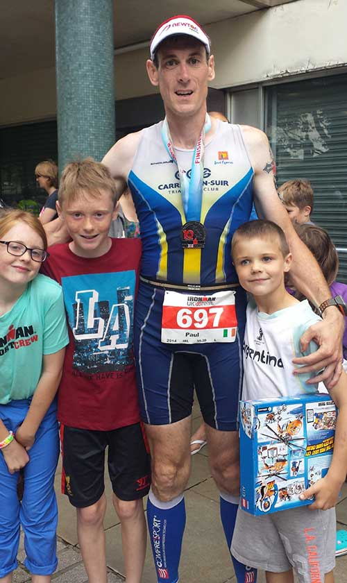 Paul Ryan, Killusty, photographed with his children, Eabha, Cathal and Oisin, after completing his first 'ironman' in Bolton, England, last weekend in a time of 12 hrs 59 mins and 56 sec. Well done Paul.