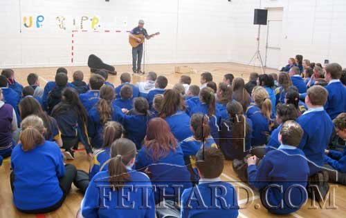 Singer 'Johnny B' performing for pupils from Patrician Presentation Secondary School, Fethard