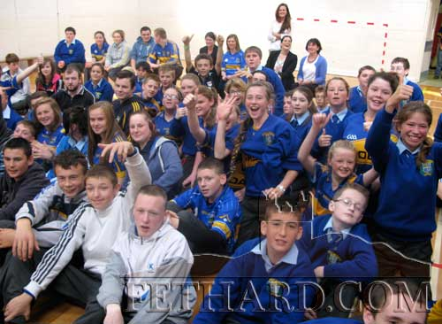 Pupils from Patrician Presentation Secondary School, Fethard, listening to Johnny B