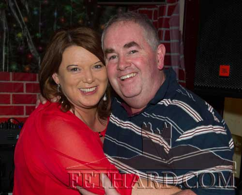Deirdre Phelan and Paddy Purtill celebrating the New Year at Lonergan's Bar.