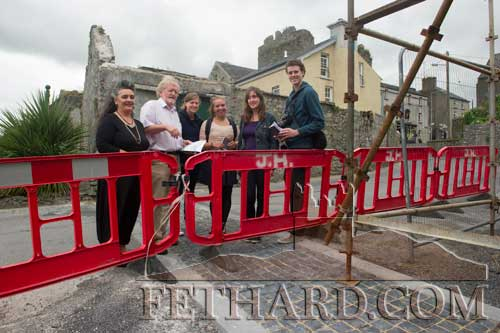 Fethard Historical Society members, Terry Cunningham and Pat Looby, showing visitors from the Netherlands the new Gateway Road Marking at Watergate depicting where the Medieval Town Wall crossed the road. L to R: Pat Looby, Terry Cunningham, Lex De Wit, Freddie Aldershoff, Femke Vleeshouwer and Jelle Gorter.