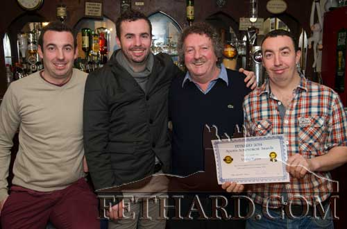 Matty Tynan photographed with his sons at the presentation of the Fethard Sports Achievement Award for January in Butler's Bar. L to R: Matthew (Junior), Sean, Matty and Seamus Tynan.